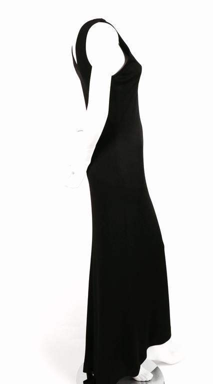 Black 1986 YVES SAINT LAURENT black jersey dress with train For Sale