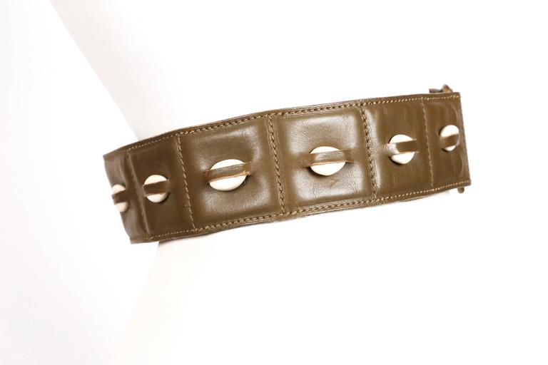 1980's AZZEDINE ALAIA olive green leather belt with cowrie shells 2