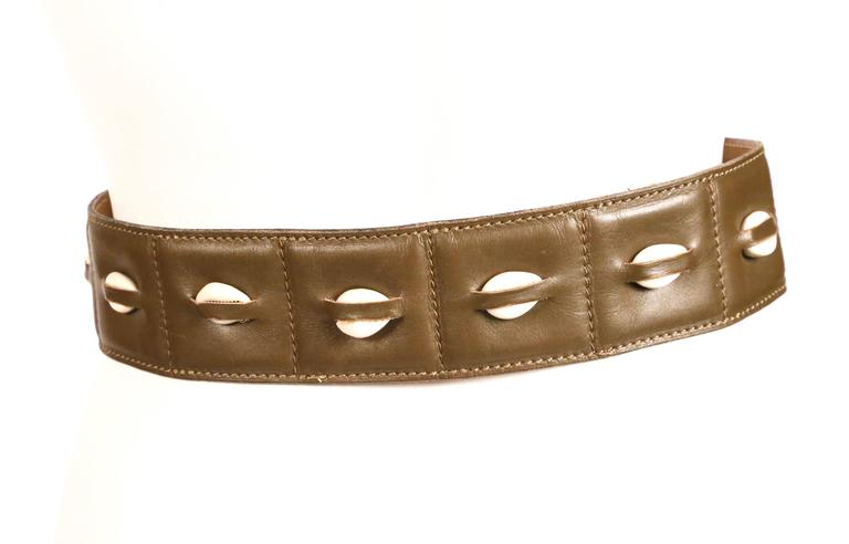 1980's AZZEDINE ALAIA olive green leather belt with cowrie shells 4