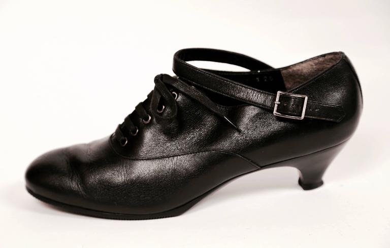 1980's COMME DES GARCONS black leather oxford heels with ankle strap 2