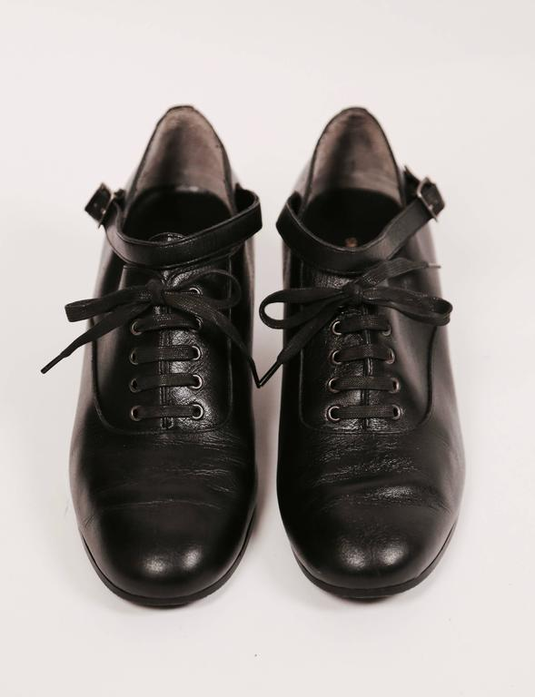 1980's COMME DES GARCONS black leather oxford heels with ankle strap 3