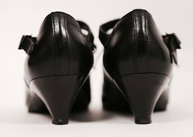 1980's COMME DES GARCONS black leather oxford heels with ankle strap 4