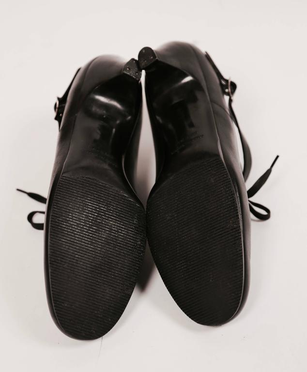 1980's COMME DES GARCONS black leather oxford heels with ankle strap 5