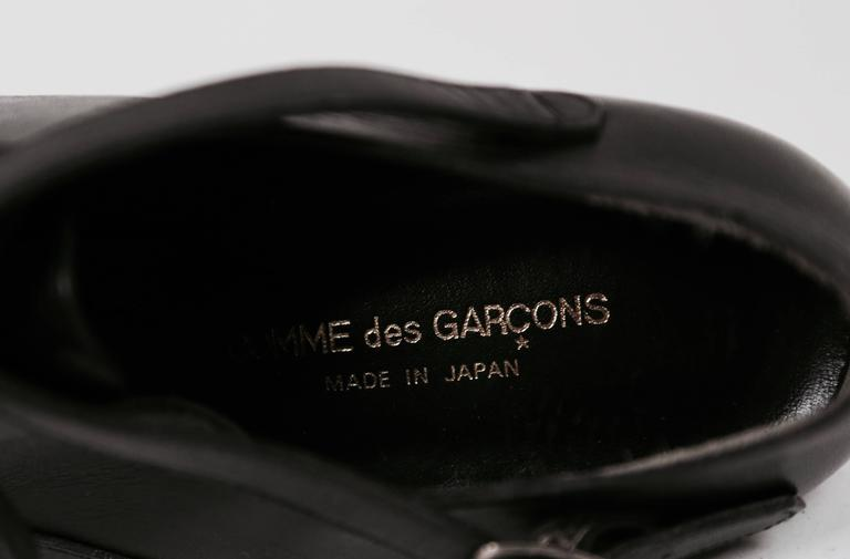 1980's COMME DES GARCONS black leather oxford heels with ankle strap 6