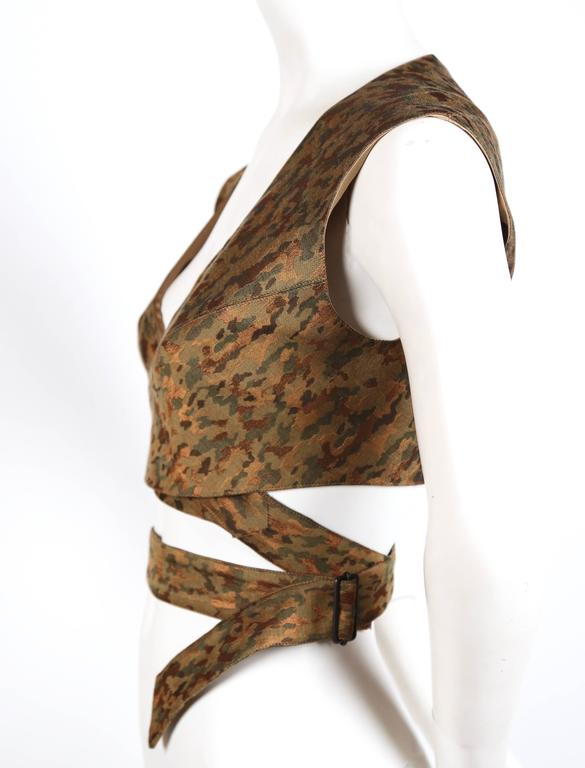 1990's AZZEDINE ALAIA camouflage wrap bustier top 2