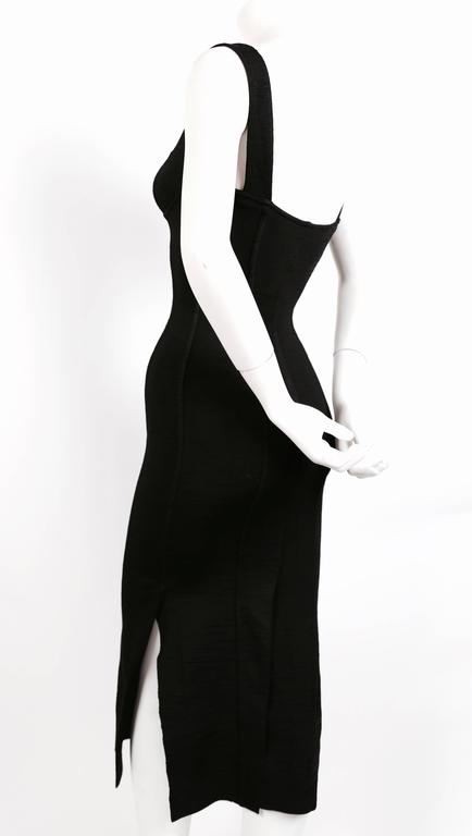 1990's AZZEDINE ALAIA black long dress with bustier seams 3