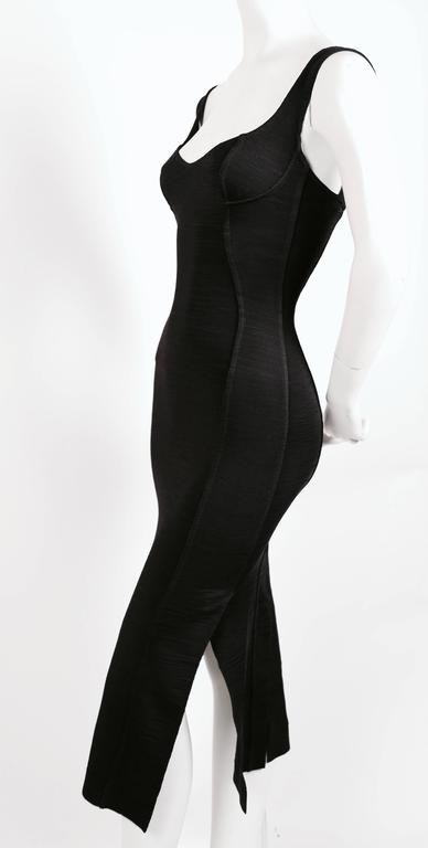 1990's AZZEDINE ALAIA black long dress with bustier seams 2