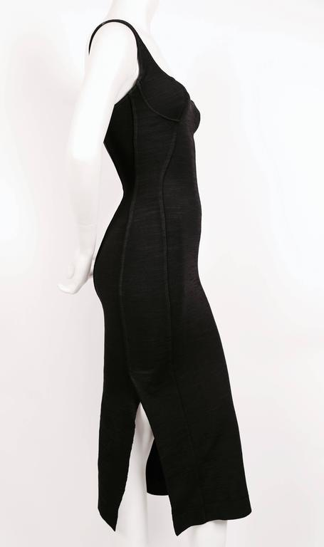 1990's AZZEDINE ALAIA black long dress with bustier seams 4