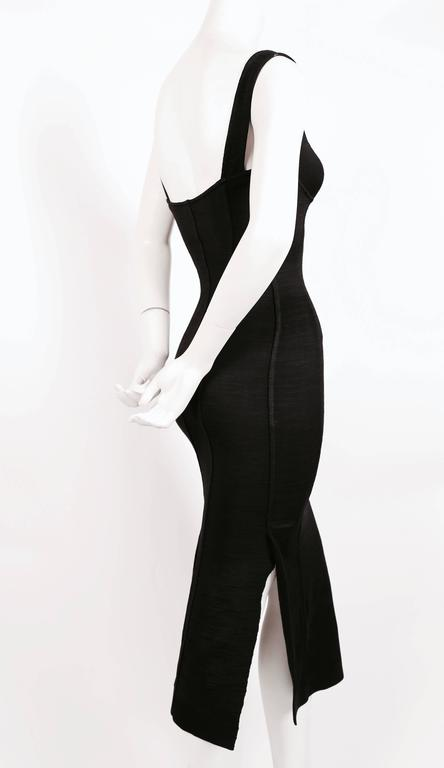 1990's AZZEDINE ALAIA black long dress with bustier seams 5