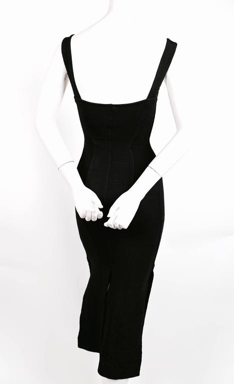 1990's AZZEDINE ALAIA black long dress with bustier seams 6