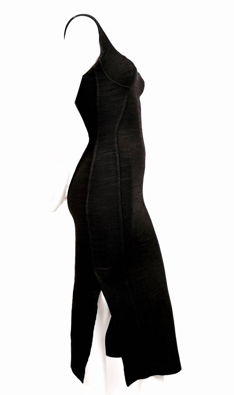 1990's AZZEDINE ALAIA black long dress with bustier seams 2