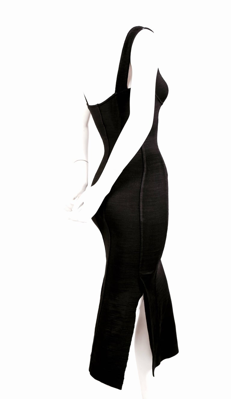 1990's AZZEDINE ALAIA black long dress with bustier seams 3