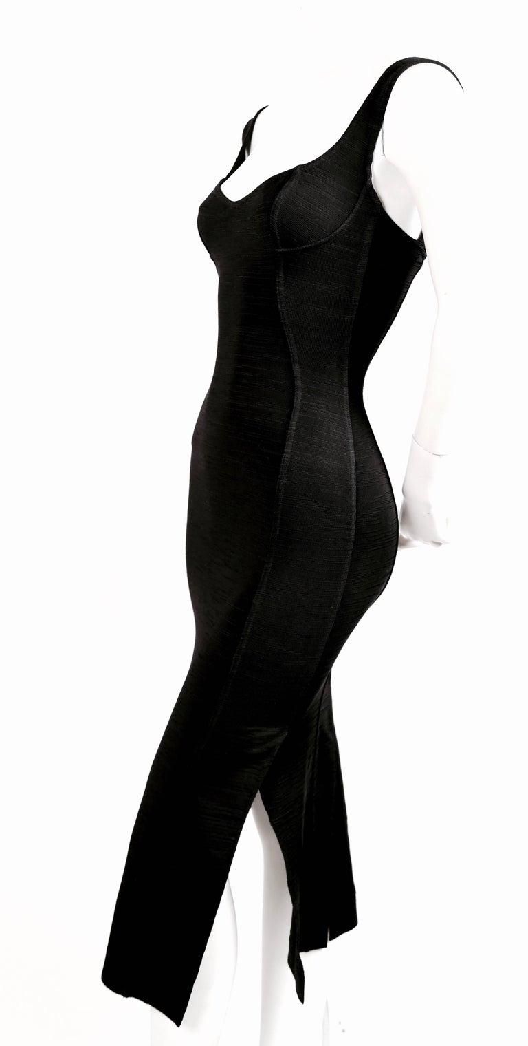 1990's AZZEDINE ALAIA black long dress with bustier seams 4
