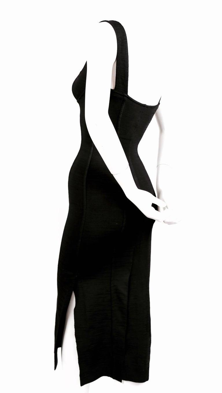 1990's AZZEDINE ALAIA black long dress with bustier seams 5