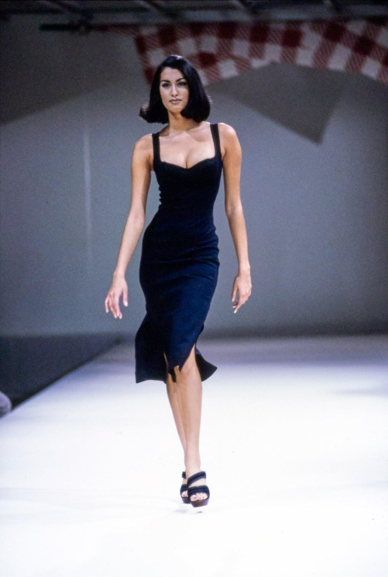 1991 Azzedine Alaia long black runway dress with bustier seams For Sale 3