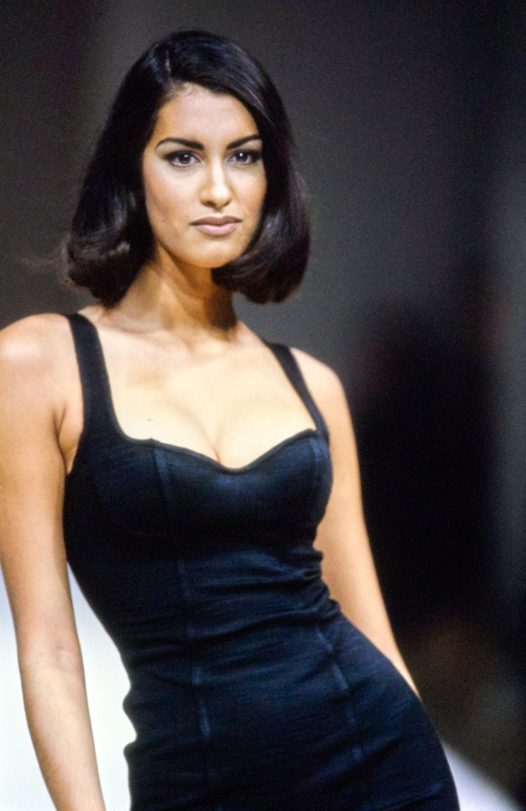 1991 Azzedine Alaia long black runway dress with bustier seams For Sale 4