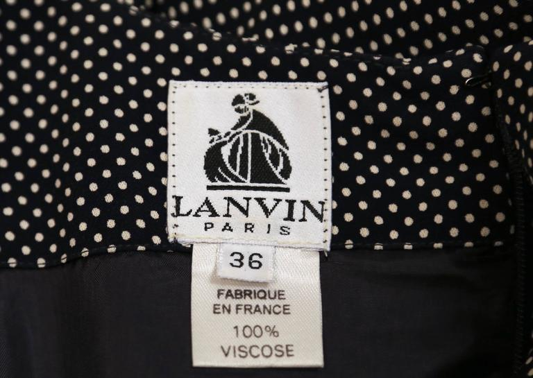 Women's or Men's 1990's LANVIN navy polka dotted dress with three-quarter sleeves For Sale