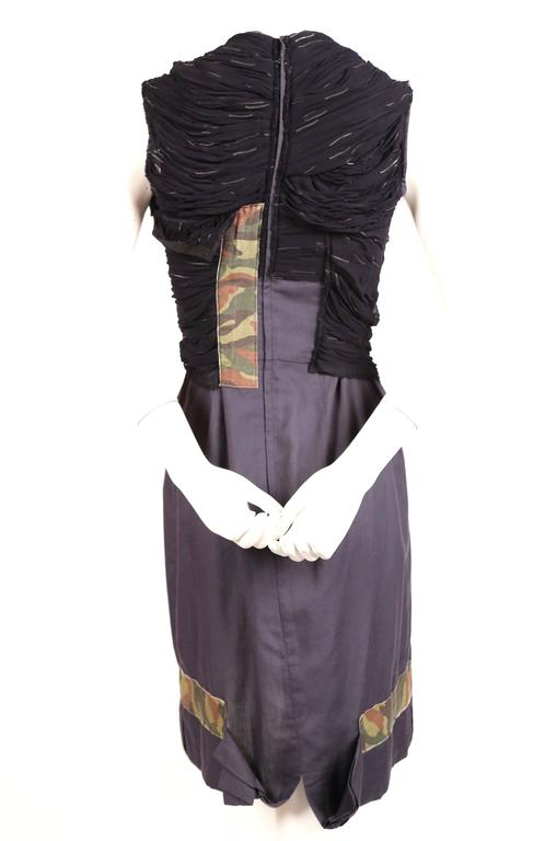 2001 COMME DES GARCONS runway dress with ruching & camouflage tape   In Good Condition For Sale In San Fransisco, CA