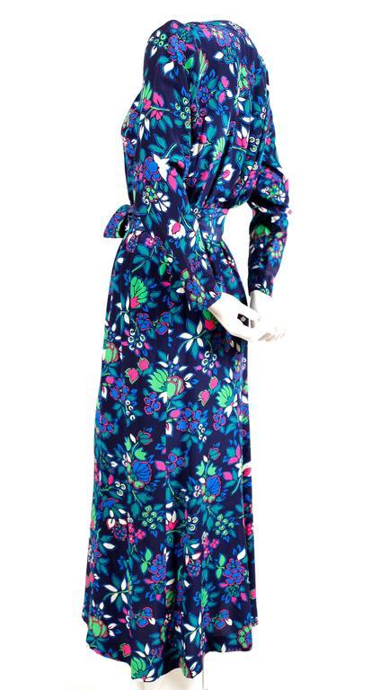 Purple vintage YVES SAINT LAURENT floral dress with long waist tie For Sale