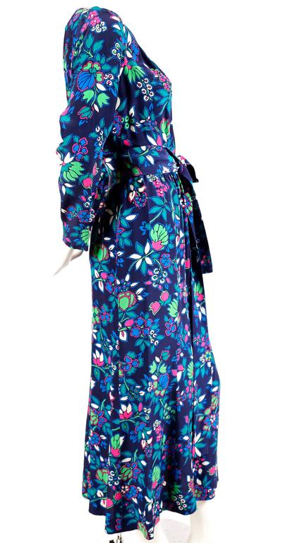 vintage YVES SAINT LAURENT floral dress with long waist tie In Excellent Condition For Sale In San Francisco, CA