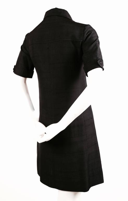 1960's YVES SAINT LAURENT jet black raw silk safari dress 3
