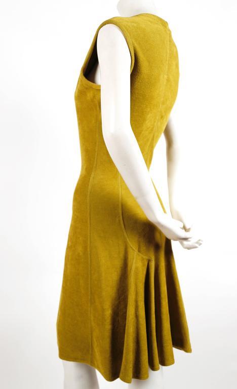 1990's AZZEDINE ALAIA chartreuse chenille dress 2