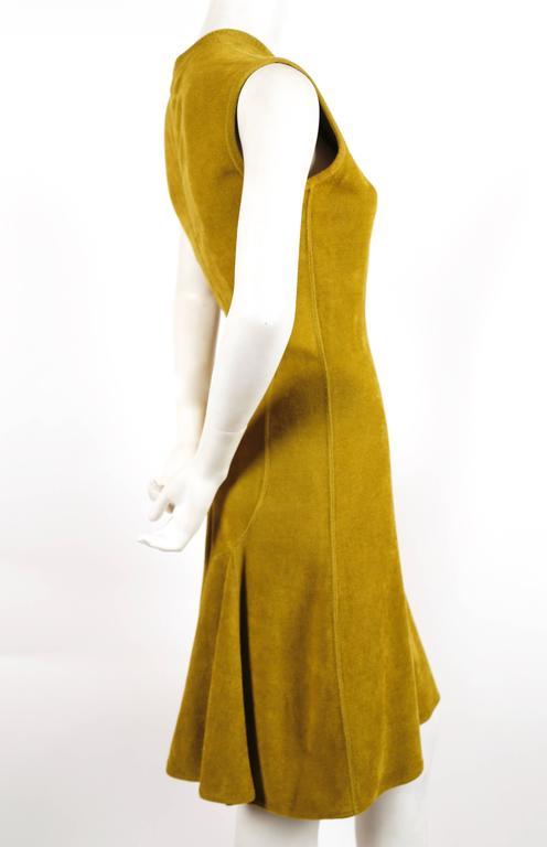 1990's AZZEDINE ALAIA chartreuse chenille dress 3