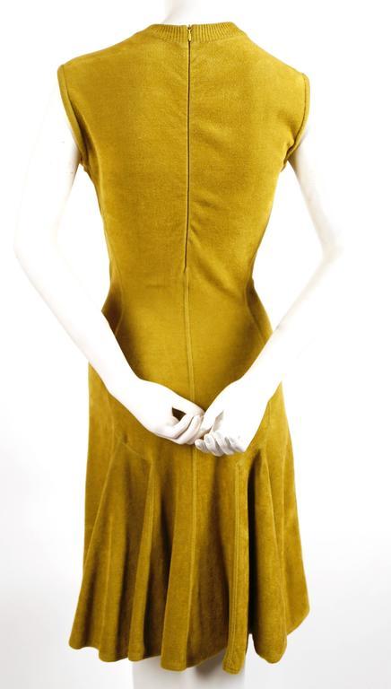 1990's AZZEDINE ALAIA chartreuse chenille dress 4