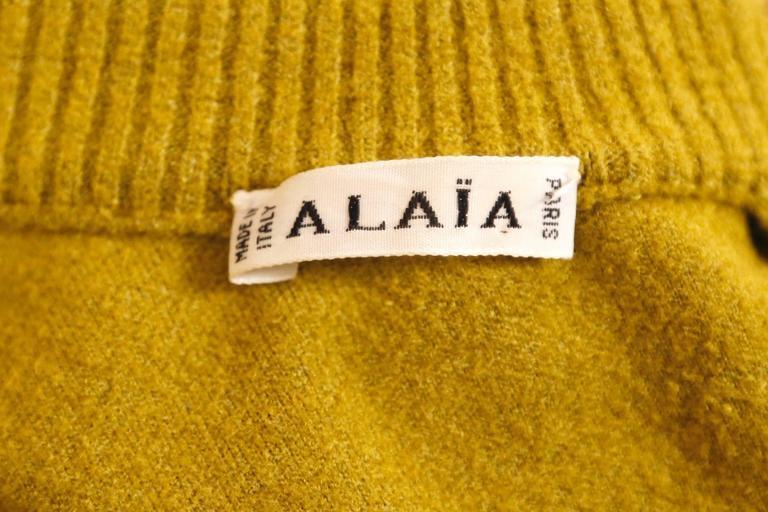 1990's AZZEDINE ALAIA chartreuse chenille dress 5