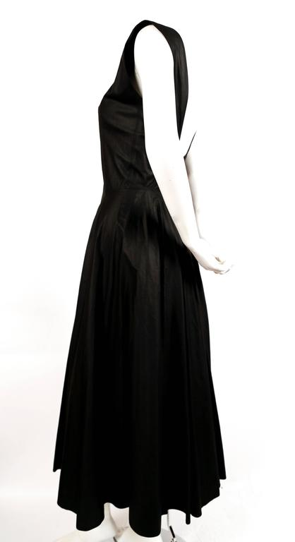 1980's AZZEDINE ALAIA long full skirted black dress with open back 2