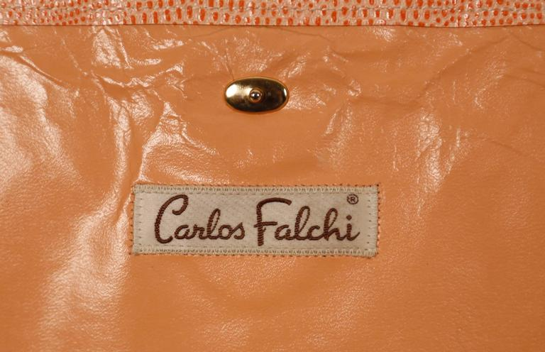Orange 1970's CARLOS FALCHI peach patchwork reptile skin clutch For Sale