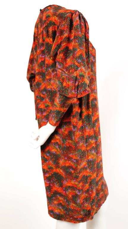 Brown YVES SAINT LAURENT floral silk peasant dress For Sale
