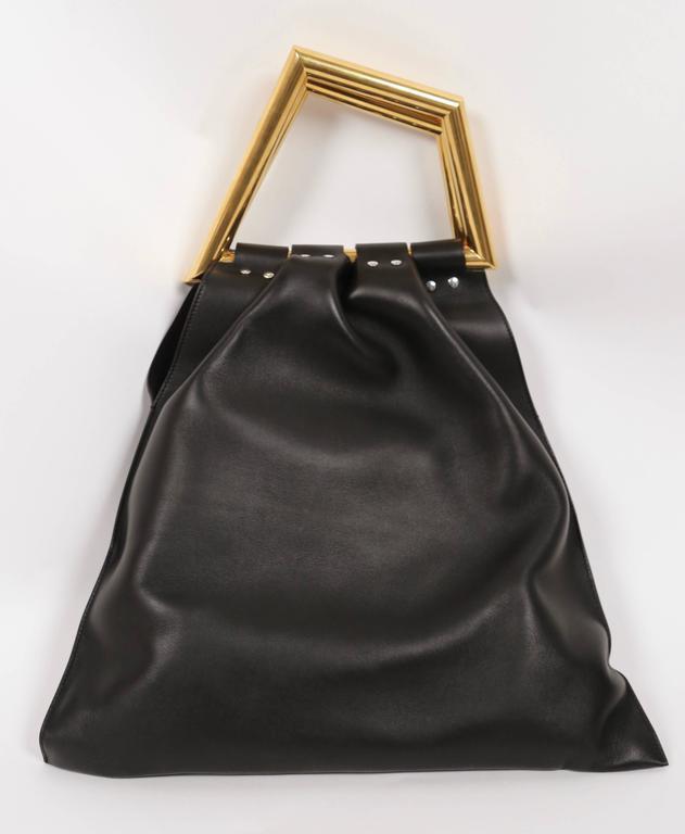 ew CELINE Phoebe Philo black leather runway bag with gold triangular metal handl 2