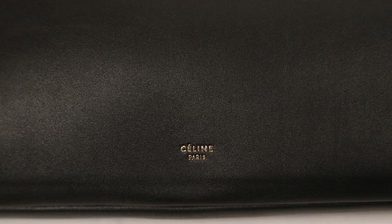 ew CELINE Phoebe Philo black leather runway bag with gold triangular metal handl 3