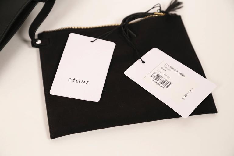 ew CELINE Phoebe Philo black leather runway bag with gold triangular metal handl 4