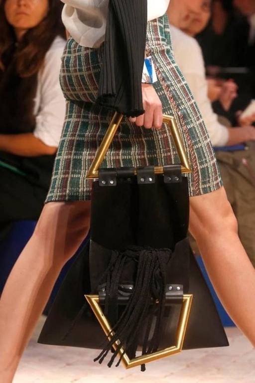 ew CELINE Phoebe Philo black leather runway bag with gold triangular metal handl 5