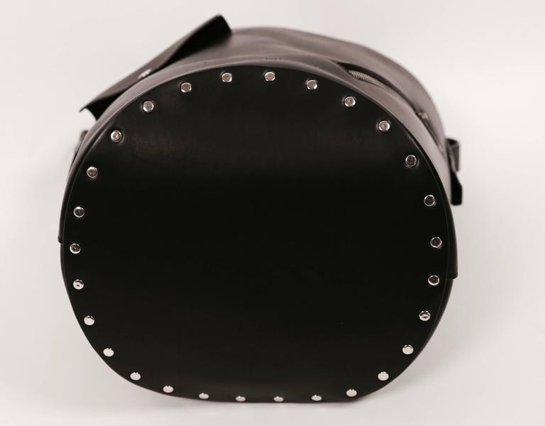 new CELINE Phoebe Philo black leather biker bag with silver grommets  In New Never_worn Condition For Sale In San Fransisco, CA