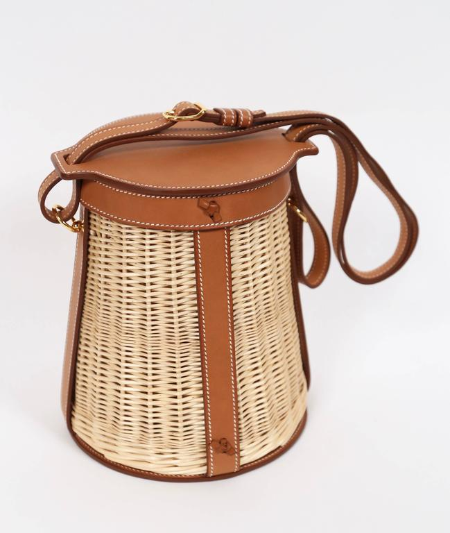 very rare HERMES Farming Picnic Osier bag in wicker and veau barenia leather 2