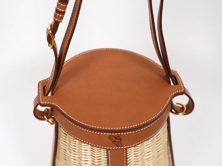 very rare HERMES Farming Picnic Osier bag in wicker and veau barenia leather 3