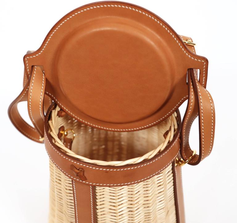 very rare HERMES Farming Picnic Osier bag in wicker and veau barenia leather In New Condition In San Fransisco, CA