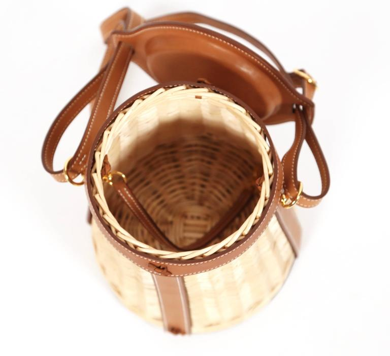 very rare HERMES Farming Picnic Osier bag in wicker and veau barenia leather 5