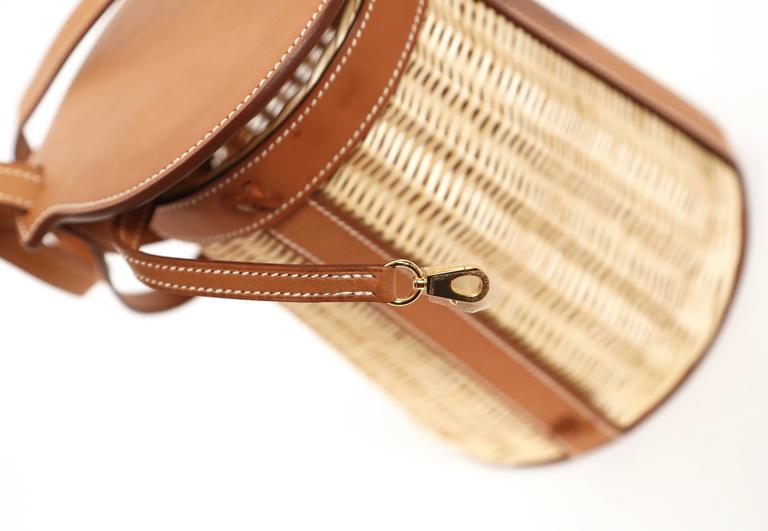 very rare HERMES Farming Picnic Osier bag in wicker and veau barenia leather 6