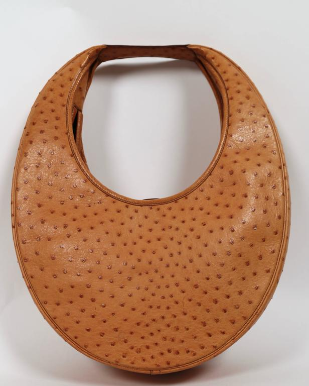 very rare 1989 HERMES ostrich leather circular 'Folies' bag 2