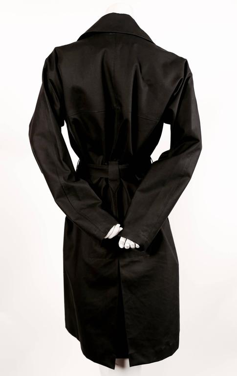 Black AZZEDINE ALAIA classic black cotton trench coat For Sale