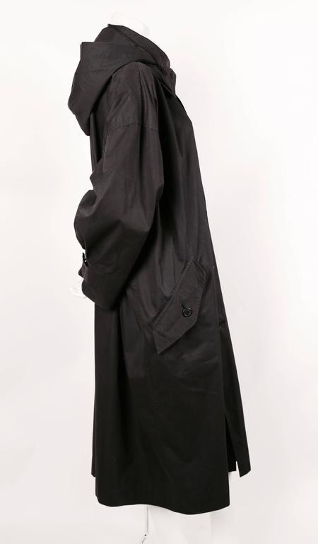 Black 1980's ISSEY MIYAKE slate grey hooded windcoat For Sale