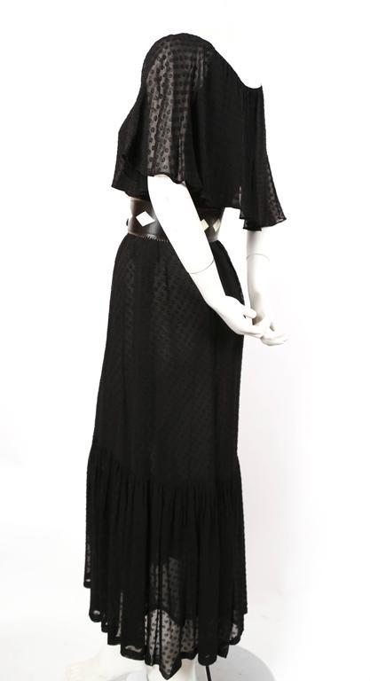 1970's YVES SAINT LAURENT black off-the-shoulder peasant dress 2