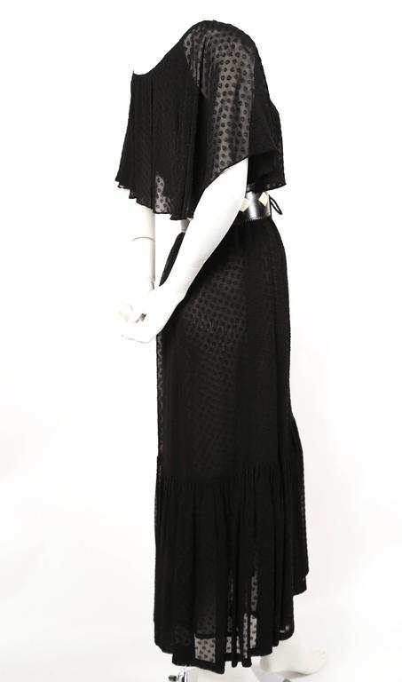 1970's YVES SAINT LAURENT black off-the-shoulder peasant dress 3