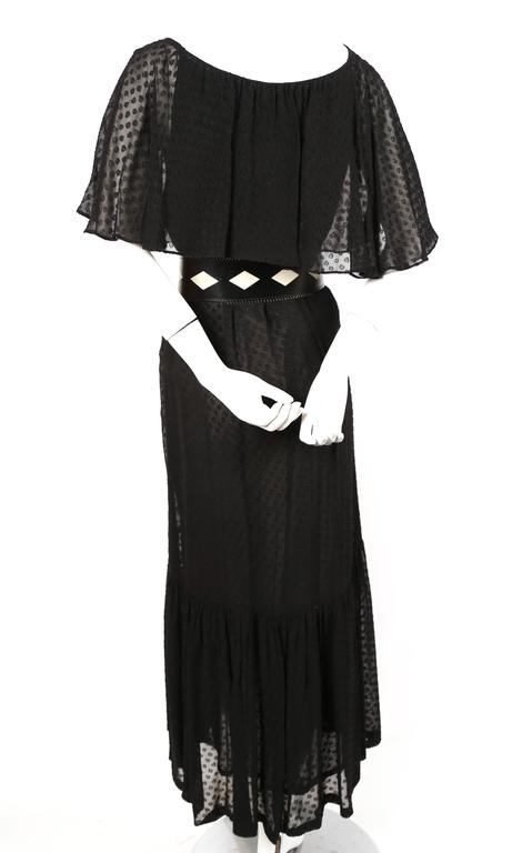 1970's YVES SAINT LAURENT black off-the-shoulder peasant dress 4