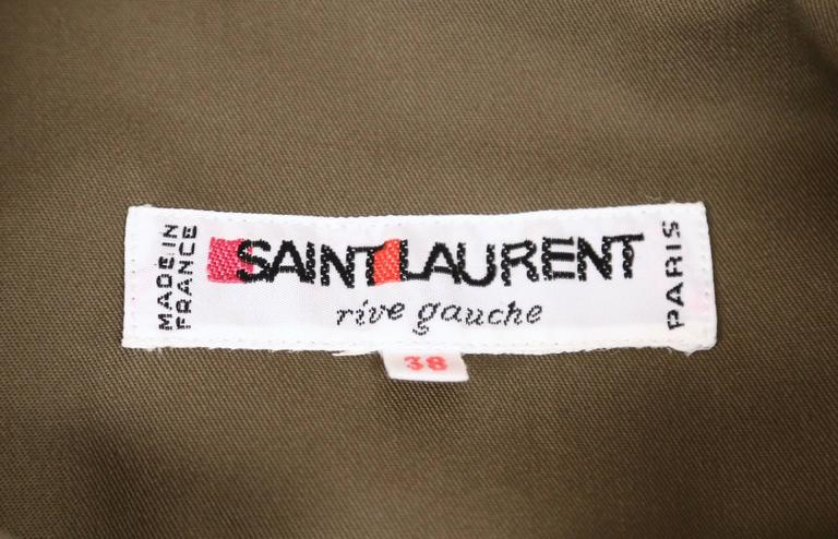"Iconic YVES SAINT LAURENT ""Saharienne"" khaki tunic safari tunic 5"
