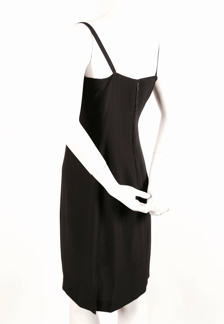 Black 1970's KARL LAGERFELD for CHLOE black silk dress with beads For Sale